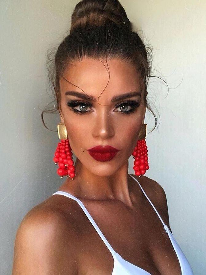 Pinterest Nandeezy Hair Makeup Red Lip Makeup Makeup Looks