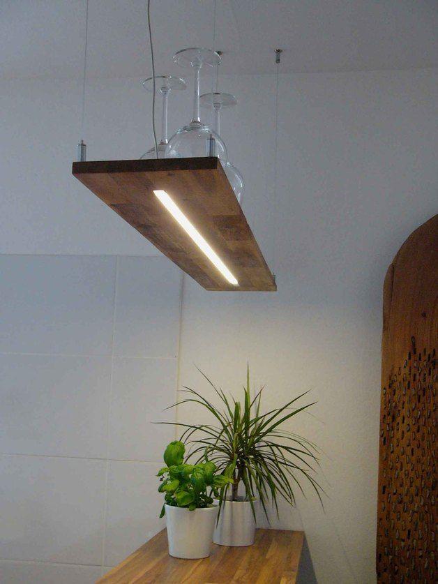 Hängelampe Eiche-hell Hängeregal LEDs warmweiß