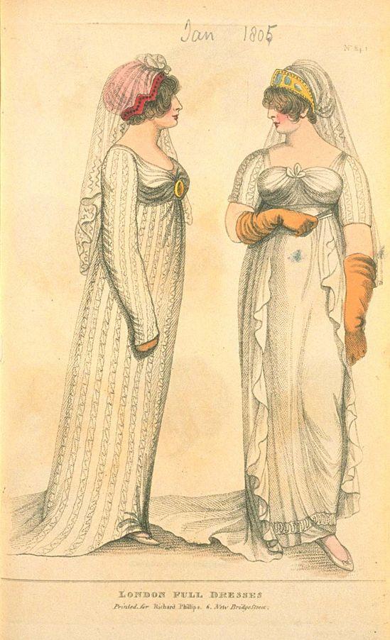 Volle Kleider, Januar 1805, Moden von London & Paris