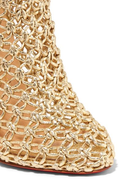 Christian Louboutin - Andaloulou 100 Metallic Leather Ankle Boots - Gold - IT41