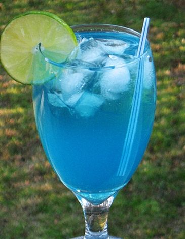 Electric Lemonade!        Ingredients     2 oz. Vodka (Citrus flavored)  1.5 oz. Blue Curacao  3 oz. Lemonade  2 oz. 7-Up  Lime wheel or Cherry for garnish