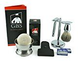 Mens Chrome Grooming Set With Our Most Advanced De Razor Shaving Mug 100% Pure Badger Brush Brush and Razor Stand Leather Case and 97% All Natural Gbs Ocean Driftwood Shave Soap