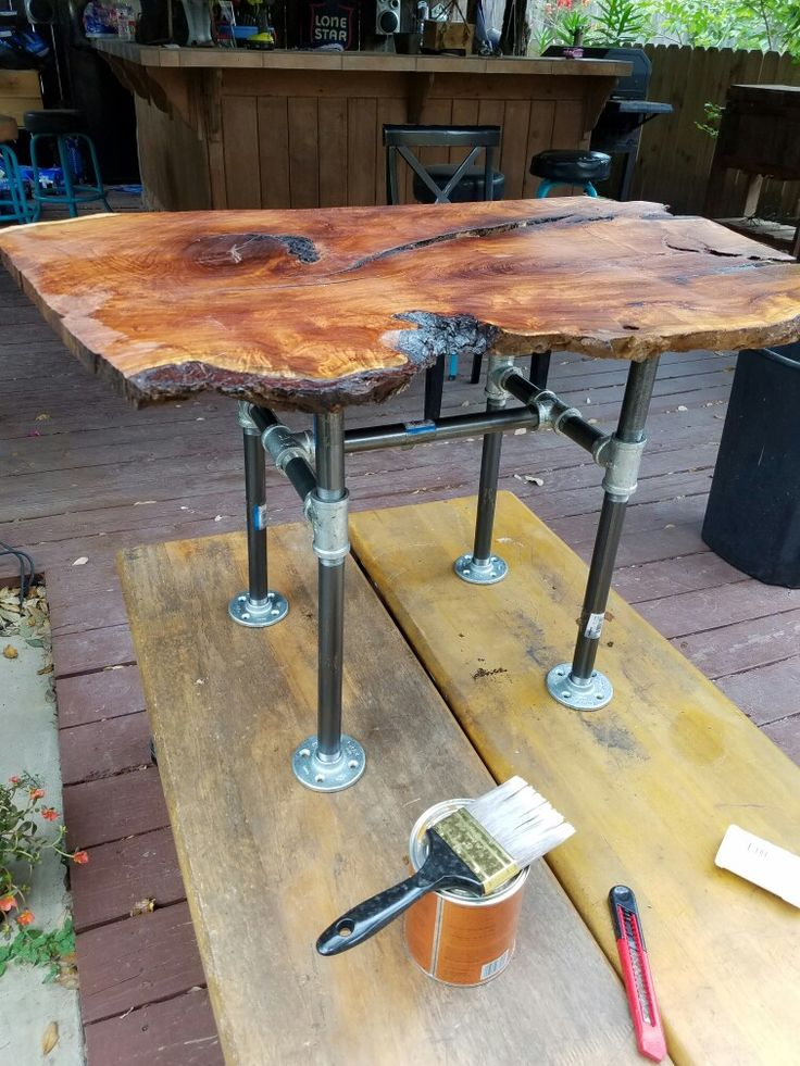DIY Live Edge Mesquite End Table With Galvanized Pipe Legs.