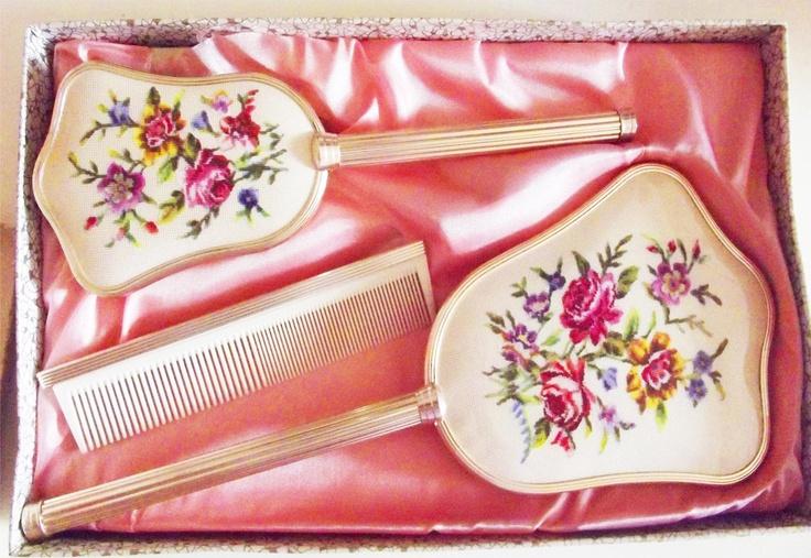 mirror, comb and brush set