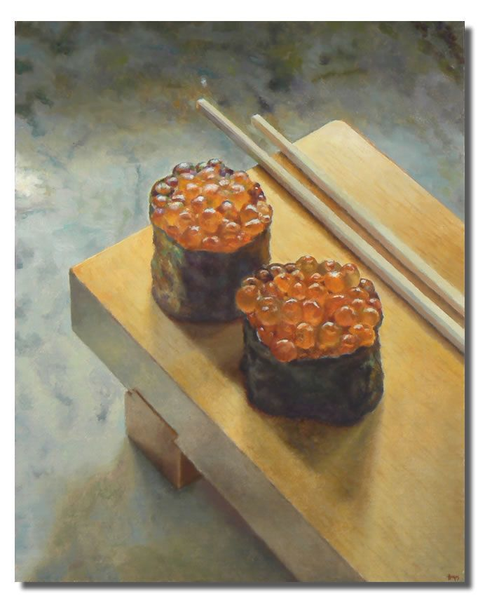 Painting a day: Two Ikura Sushi