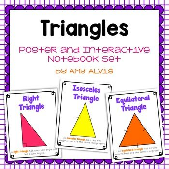 This set includes a 1 interactive graphic organizer (like a foldable) and 9 triangle posters (8.5 X 11).  You will get a poster for the following:  Right Triangle, Obtuse Triangle, Acute Triangle, Scalene Triangle, Isosceles Triangle, Equilateral Triangle and 3 different Area of a Triangle posters.If you like these posters, please check out the other sets I have!***************************************************************************Save $$$ when you buy this and my other geometry and…