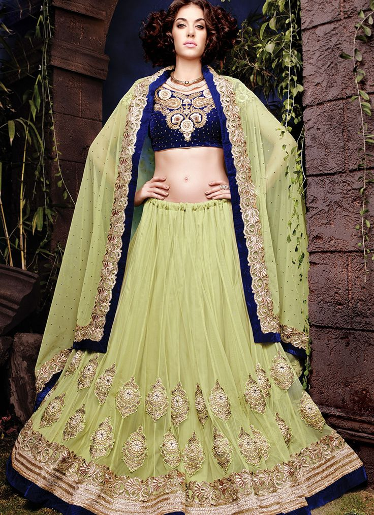 Light green wedding wear fancy lehenga choli supplier online  Grab full catalog online @ http://www.suratwholesaleshop.com/5008-Glorious-Yellow-Georgette-Half-N-Half-Wedding-Wear-Saree?view=catalog&page=2   #wholesalelehengas #lehengas #bulklehengas #cheaplehengas #heavyworklehengas #bridallehengas #suratlehengas #onlinelehengasshopping