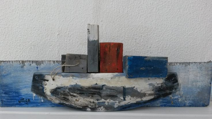 Handmade Rustic Greek Beachcombed  Driftwood Boat Ornament and Reclaimed Wood in Grey, Blue and Red in Meditterranean Nautical  Beach Style by WillyaCollection on Etsy