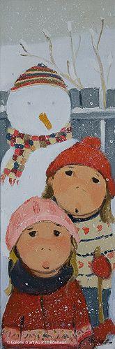 Guylène Saucier, 'Bonhomme en couleur', 8'' x 24''   Galerie d'art - Au P'tit Bonheur - Art Gallery