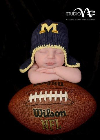 Newborn Univ. of Michigan Photo Prop..Newborn U of M Hat..Hand Knit Newborn U of M Blue Football Helmet Hat.. Newborn Baby Football Hat.. on Etsy, $29.99