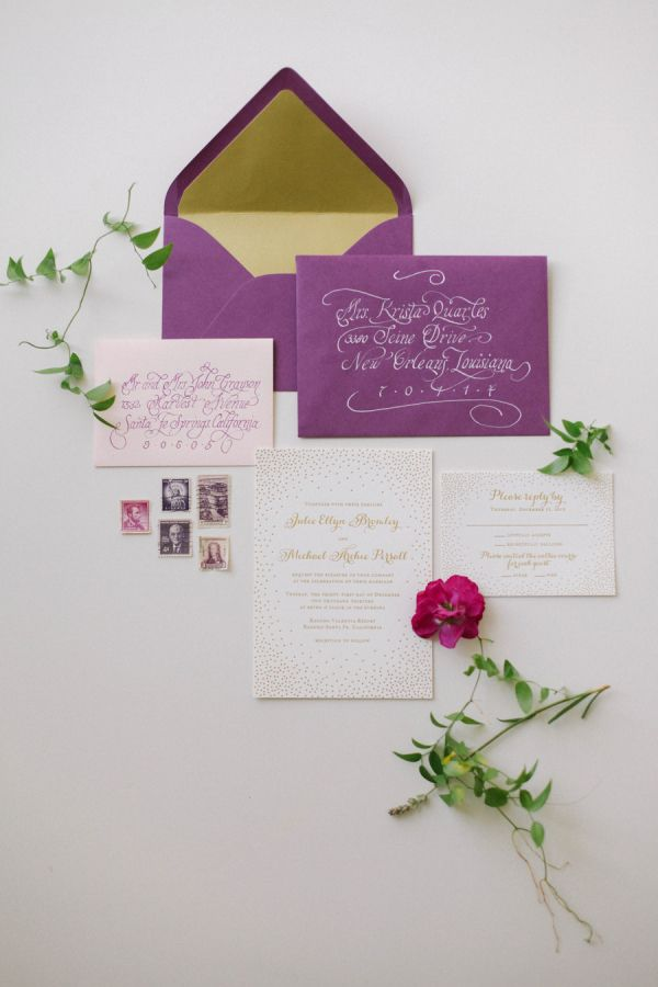 Elegant Purple Gold Wedding Stationery | photography by http://www.jacquelynnphoto.com/