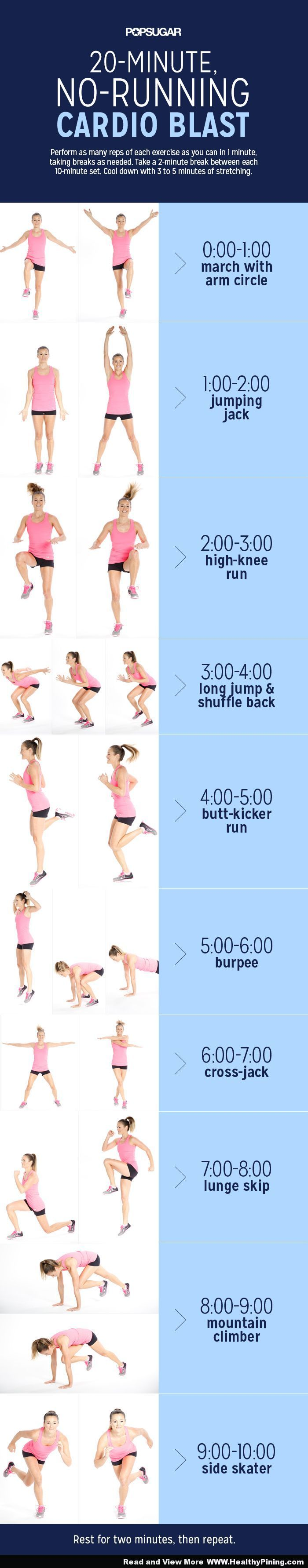 Fitness and Health – 20-Minute No-Running Cardio Blast - Healthy Pining