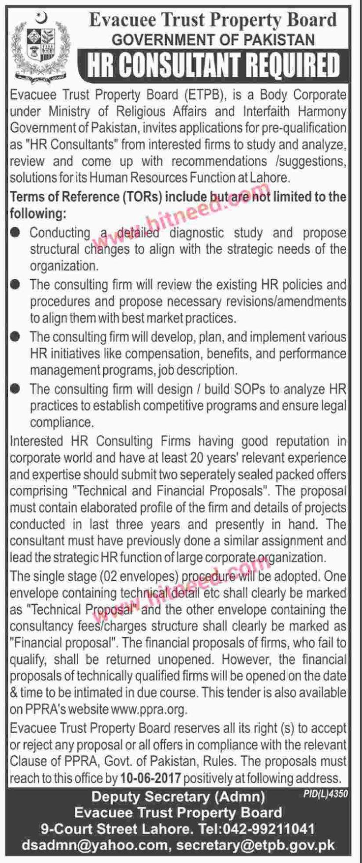 Evacuee Trust Property Board (ETPB), Government of Pakistan, HR Consultant Job, June 2017 Last Date: 10-06-2017   #HR Consultant #Lahore Jobs