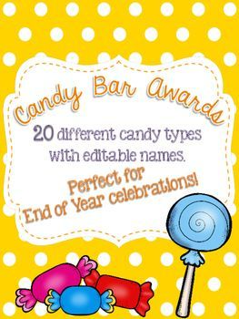 Candy Bar Awards are a sweet way to end the year! This product includes 20 different candy bar awards with reasons of why they were awarded. Each pennant has an editable spot for you to type in each award winner's name!Awards include:-Nerds: being great with numbers-Sour Patch Kids: for changing so much throughout the year!- Gobstopper: for your ever lasting songs- Snickers: for always giving people a reason to laugh- Skittles: for having a colorful personality- Dove Bar: for always trying…