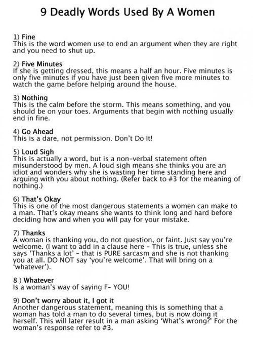 9 Deadly words used by women