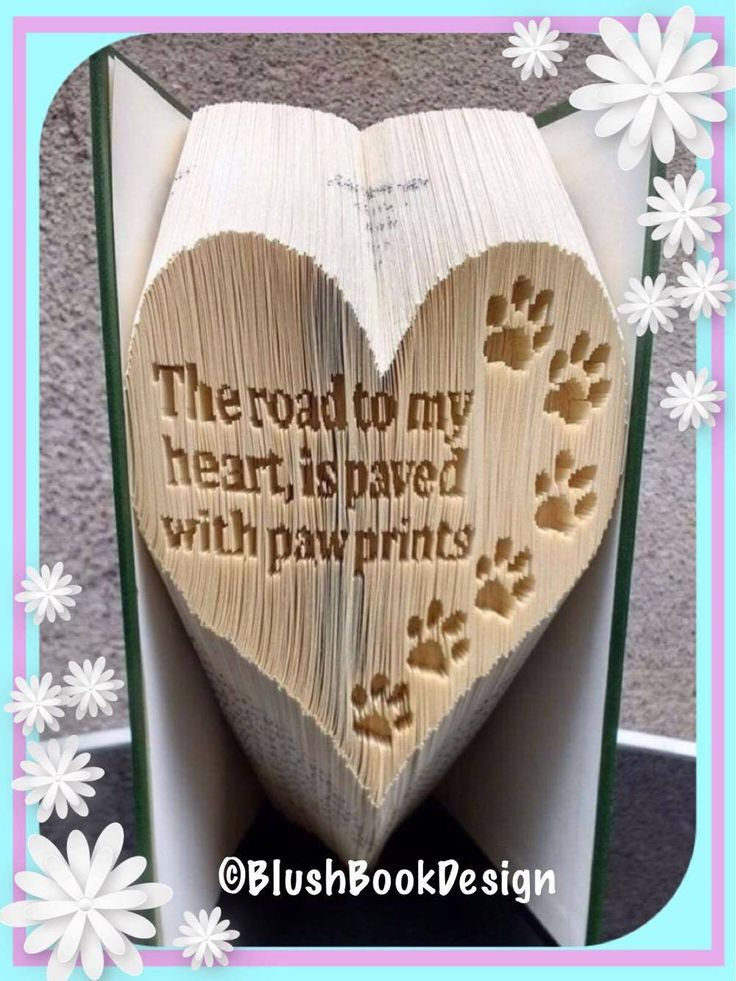 The road to my heart is paved with paw prints book folding pattern by BlushBookDesign on Etsy