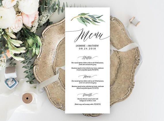 Rustic Wedding Menu template menu Printable Menu