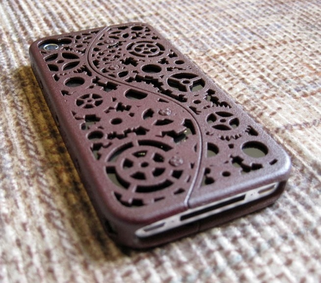 Designer Steampunk iPhone 4 Cogs and Gears Case (in 3D printed Nylon) - 8 color options. $59.99, via Etsy.