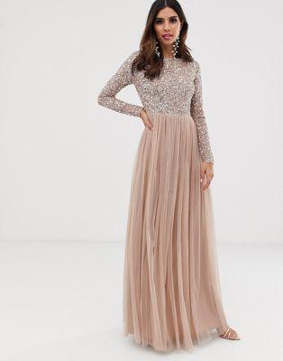 maya bridesmaid long sleeve maxi tulle dress with tonal delicate
