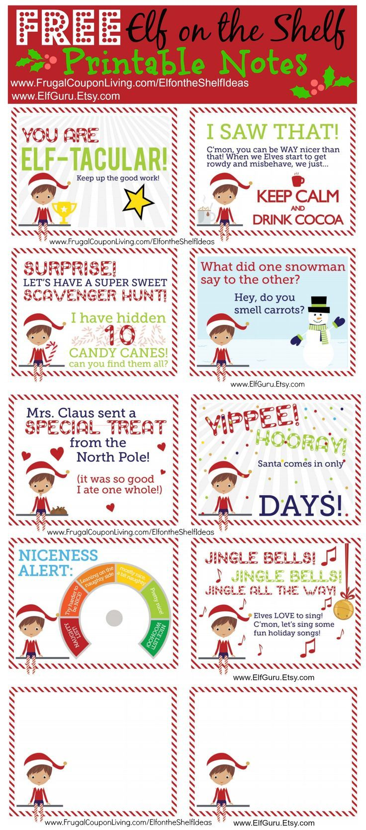 FREE Elf on the Shelf Notes and daily Elf on the Shelf Ideas on Frugal Coupon Living. 100s of creative, easy, and funny elf ideas.