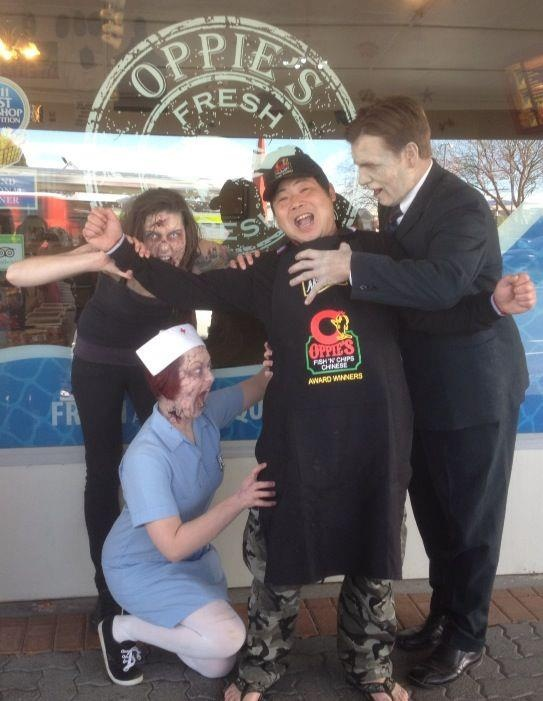 Attacked by Zombies - Oppies Fish & Chips Rotorua - www.oppies.co.nz