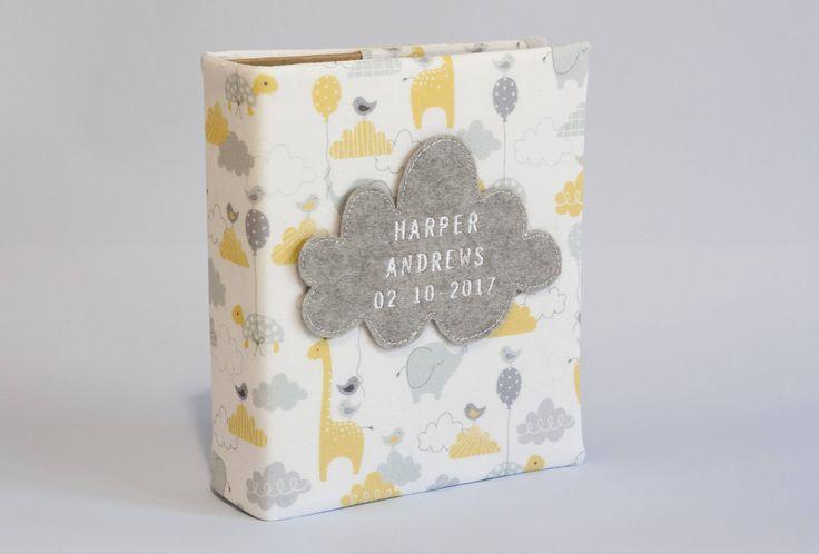 Baby photo album, sky critters, baby gift photo album, new parent gift, personalised photo album, family keepsake