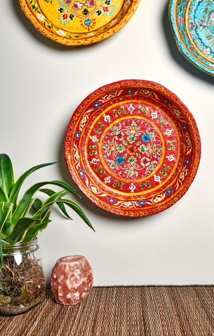 Red Paper Mache Plate from India | Earthbound Trading Co.