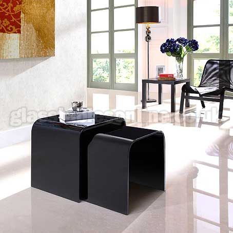 Black Gl Nest Of 2 Curved Tables