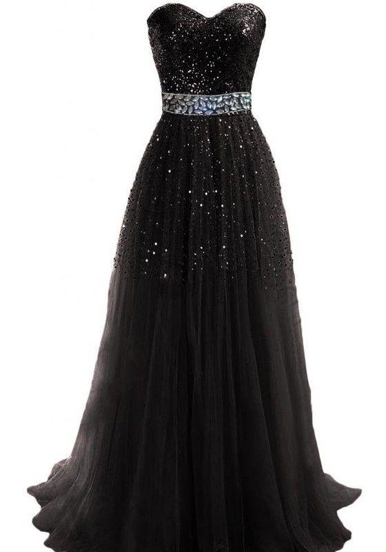 Abendkleid lang schwarz pailletten