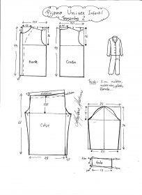 Esquema de modelagem de abrigo ou pijama infantil tamanho 2.