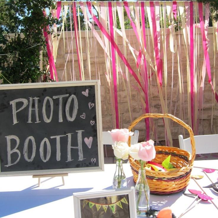 ribbon photo booth.  60th anniversary.  Black, Silver, white.