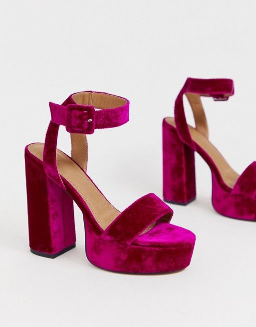 907535e8cbb DESIGN Hostess platform heeled sandals in magenta in 2019   Shoes ...