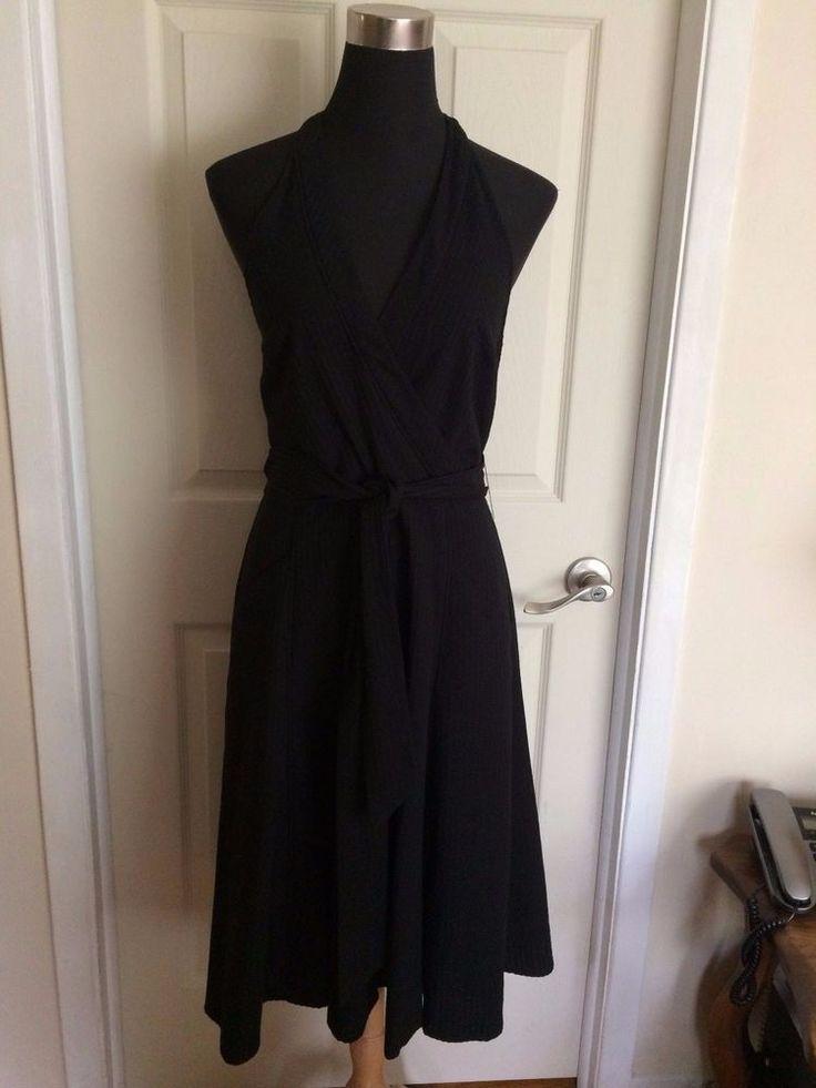 BCBGMAXAZRIA Black Seersucker Halter Dress 100% Cotton - Size 8