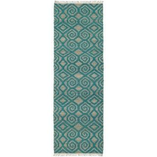 $137 (but not thick pile) Handmade Natural Fiber Teal Diamonds Cayon Rug (2'6 x 8'0) | Overstock.com Shopping - The Best Deals on Runner Rugs