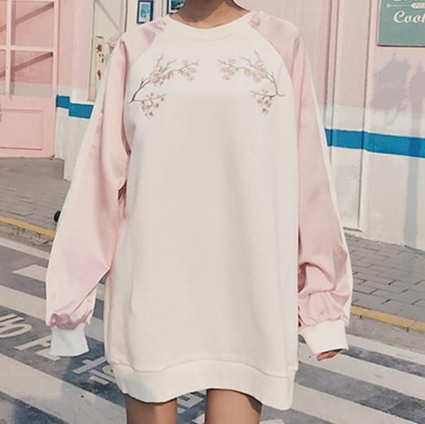6a69ac6e829 itGirl Shop PINK BLUE SAKURA CHEST EMBROIDERY COLORED LINE SLEEVE OVERSIZED  SWEATSHIRT Aesthetic Apparel