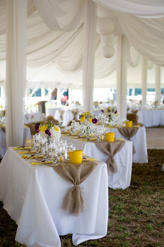 White table cloths with burlap table runners by Hicks