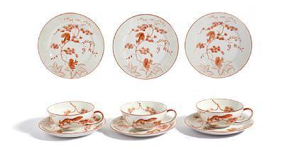 """TESERVISE  Rosenthal. """"Hänsel & Gretel"""" håndmalt orangerødt mønster med ekorn. 12 tekopper med underskål (DIAM: 10) og 12 asjetter (DIAM: 19) ANTALL 24"""