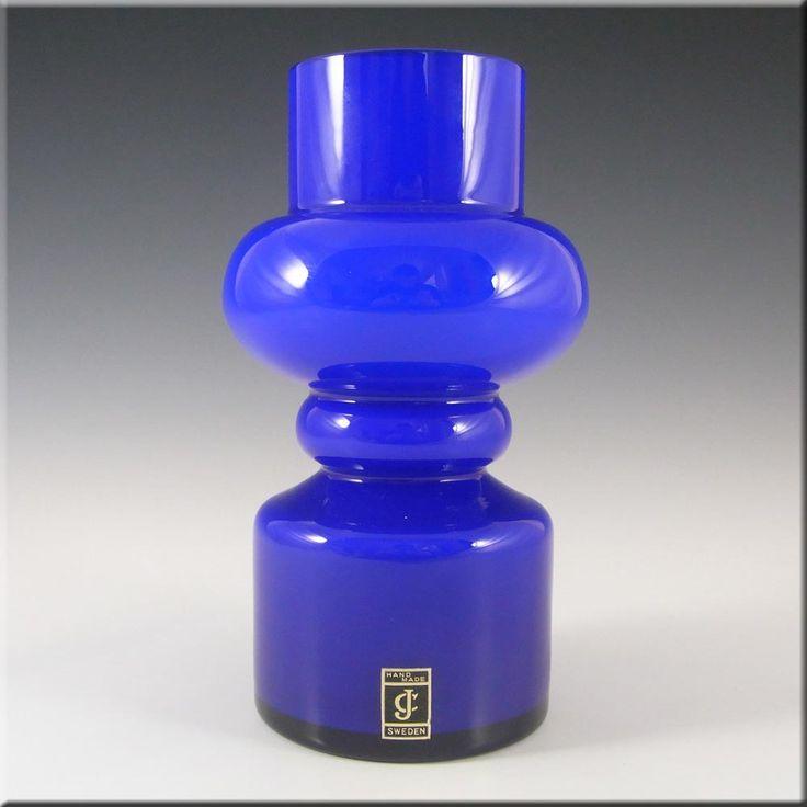 Lindshammar / JC 1970's Swedish Blue Hooped Glass Vase #2 - £80.00