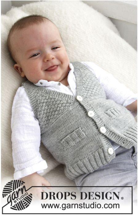 Жилетка для мальчика от Drops Размер: 1-3 (6-9, 12-18) месяцев, (2, 3-4) года Размер в см.: 56-62 (68-74, 80-86, 92, 98-104) см.