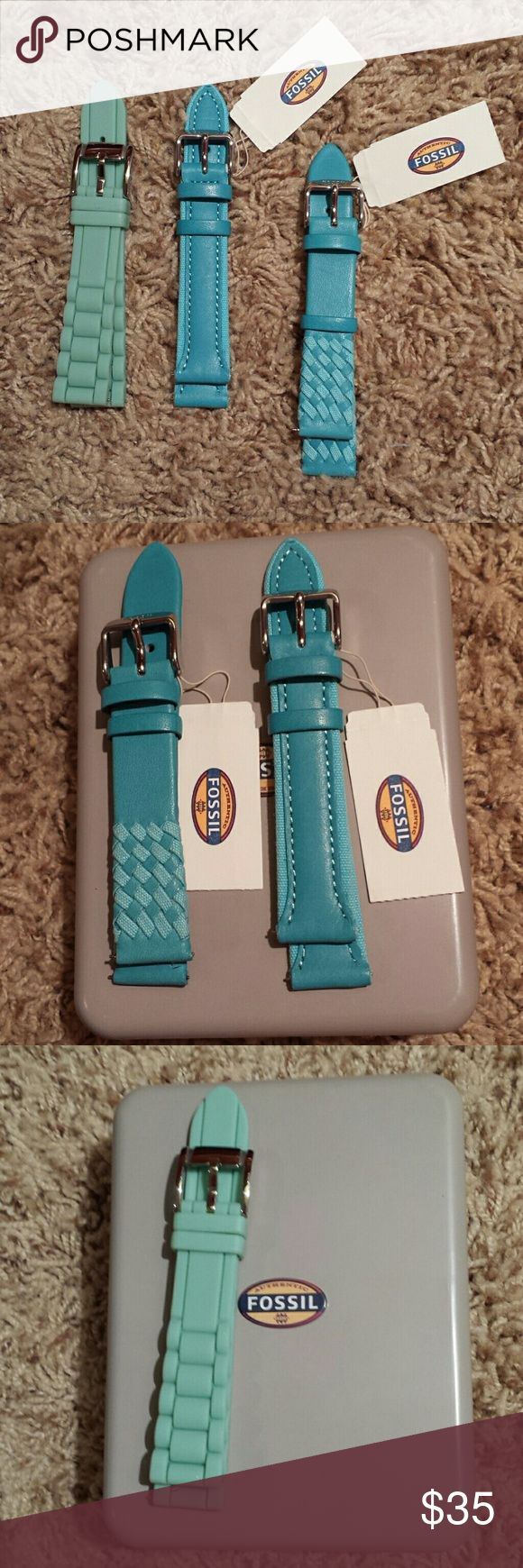 Fossil watch straps 18 mm watch straps. The two blue ones are leather and the mint green is silicone. Leather straps are new with tags and silicone has been worn once. $15 each or all 3 for $35. Let me know if I can answer any questions or make separate listings! Fossil Accessories Watches