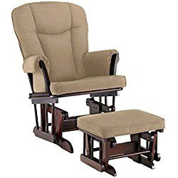 Shermag Stanton Transitional Style Nursery Glider Rocker and Ottoman, Cherry with Pearl Beige