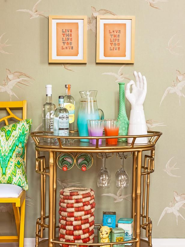 Another perfectly styled golden bar cart: http://www.hgtv.com/entertaining/how-to-style-a-bar-cart/pictures/page-17.html#?soc=Pinterest