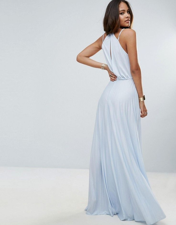 ASOS TALL Blouson Wrap Pleated Maxi Dress - Blue