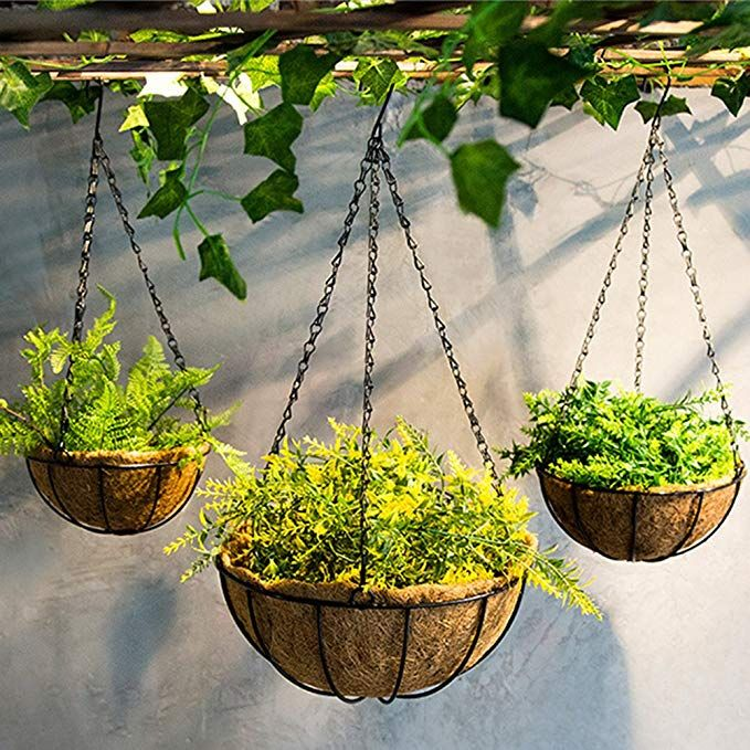Hanging Planter Hanging Flower Basket 2pack With Coco Coir Liner Metal Chain Flower Pot Hanger Green Flower Pots Garden Supplies