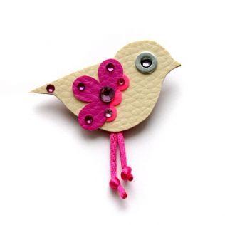 Brošňa krémovo ružový vtáčik
