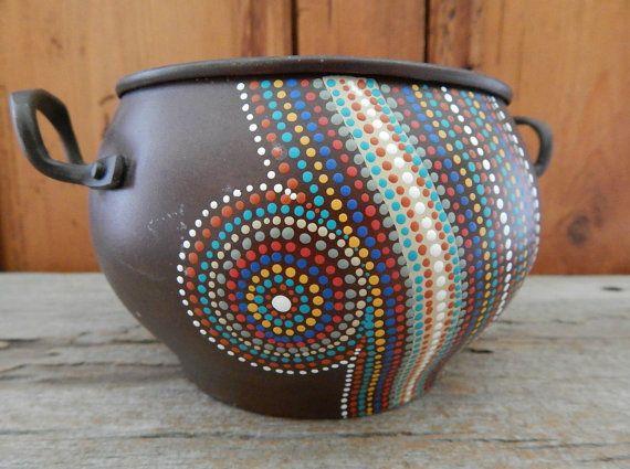 Vintage pote pequeño plantador punto pintura arte por prayerfeather