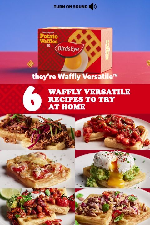 Six of our favourite waffly versatile recipes that are sure to get tummies rumbling. What's your favourite way to waffle?  1. Pulled Pork Topped Waffles 2. Chorizo Waffle Stack 3. Cheese and Tomato Waffle 4. Potato Waffle with Poached Egg & Avocado 5. Waffle Bean Chili 6. Tuna Salad Topped Waffle  For the full recipes and other waffly versatile creations, visit: https://www.birdseye.co.uk/recipes?s=waffles