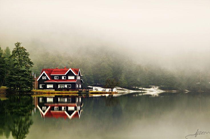 The Lake, the House and the Fog. Golcuk, Bolu, Turkey