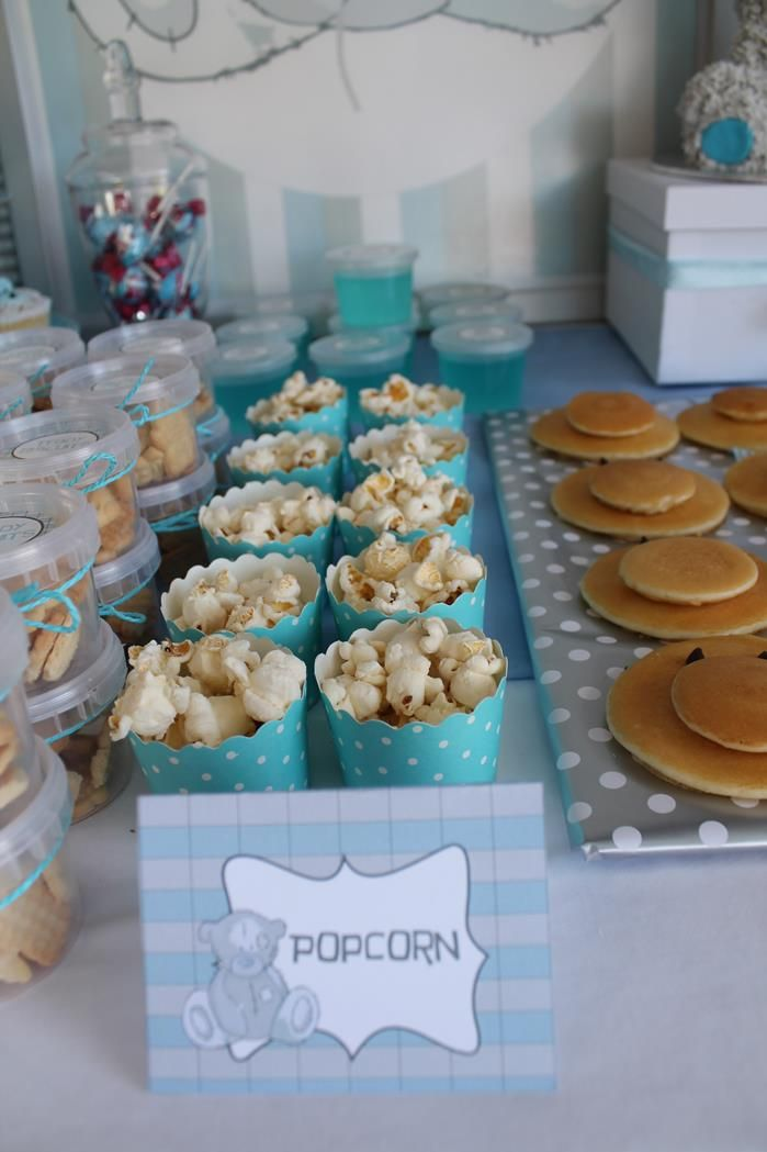 Blue and brown teddy bears Baby Shower Party Ideas | Teddy bear baby ...