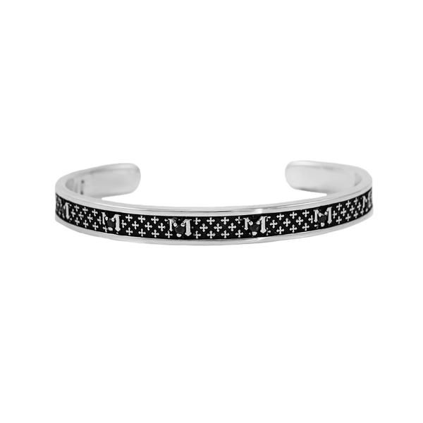 Burnished Sterling Silver and Black Spinel Cuff Bracelet With 'Hail Mary' Prayer in Latin